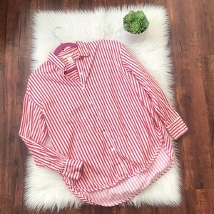 Red and white striped button down shirt